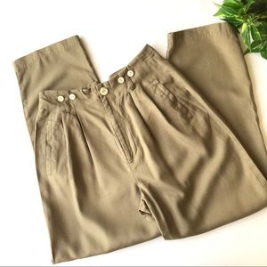 Vintage High Waist Pleated Silk Trousers
